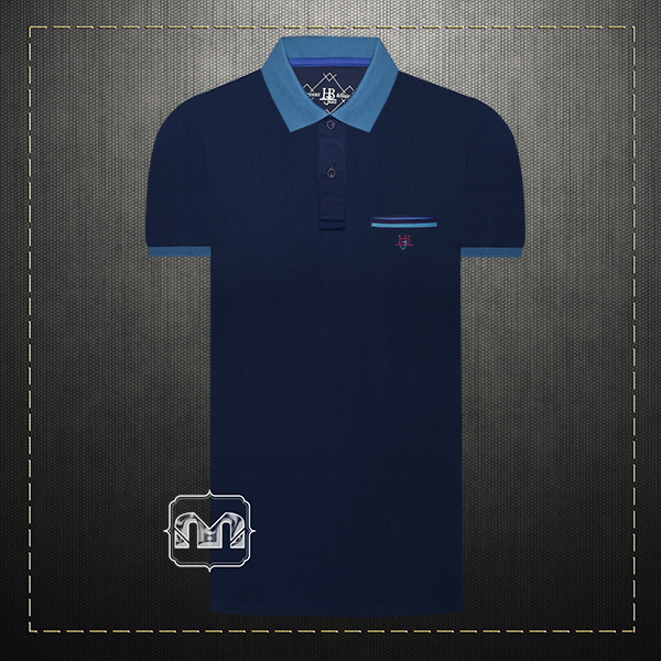 d7442fa0 ~Harmont & Blaine Jeans Navy Pique Two Tone Pocket Polo Shirt With HBJ  Chest Logo