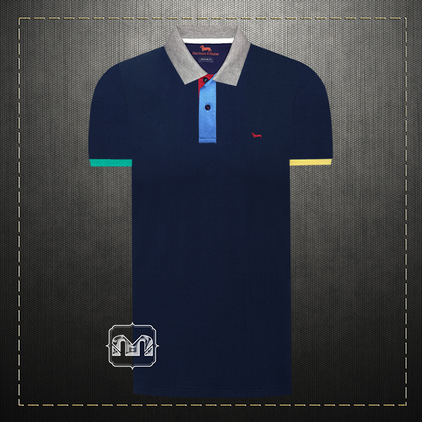5efdc9b92 ~Harmont & Blaine Men Navy Pique Two Tone Collar & Cuffs Polo Shirt With  Multicolored