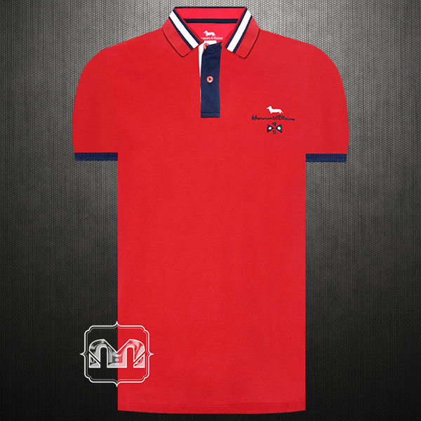 b60e316fd3 ~Harmont & Blaine Men Red Pique Polo Shirt Tipped Collar With Chest  Embroidery
