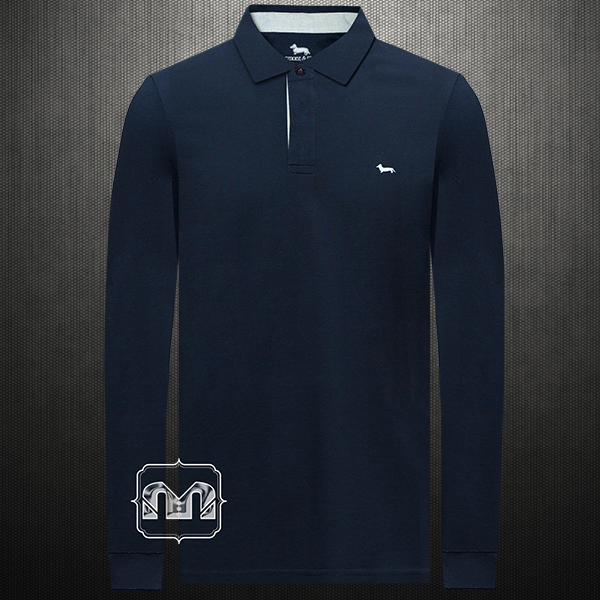 dfaf674d9 ~Harmont & Blaine Men Solid Navy Long Sleeves Buttoned Cuffs Polo Shirt  Small Dachshund Dog