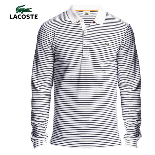 9985455a Lacoste Striped Double Face Long Sleeve Polo   Malaabes Online ...