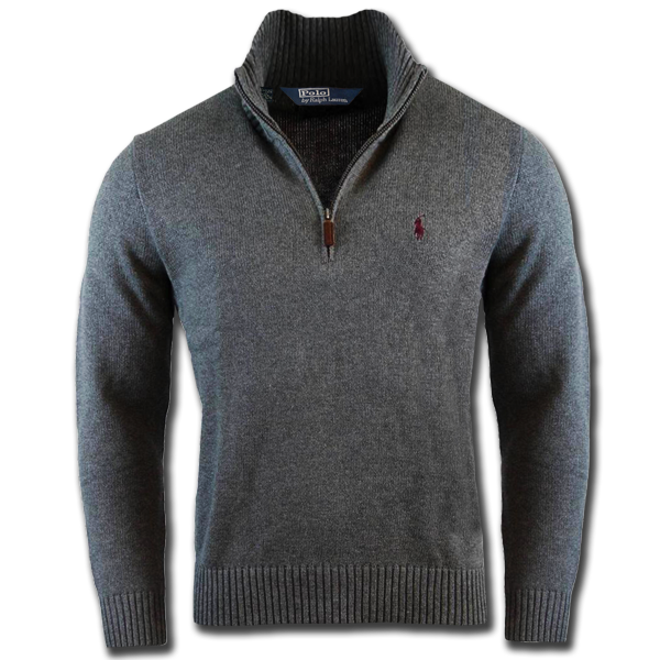 5bd752540 ~Ralph Lauren Polo Half Zip Custom Fit Grey Sweater With Maroon Small Pony