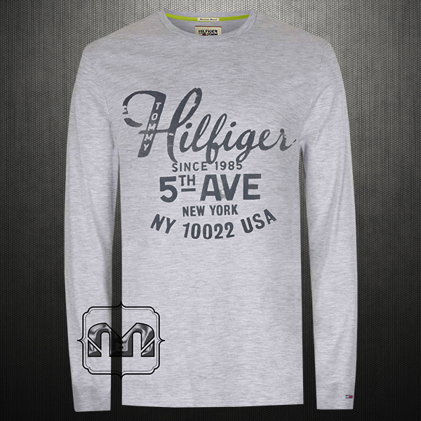 112e04068 Tommy Hilfiger Denim Men Printed Light Grey Melange Roundneck Full Sleeves  Tshirt