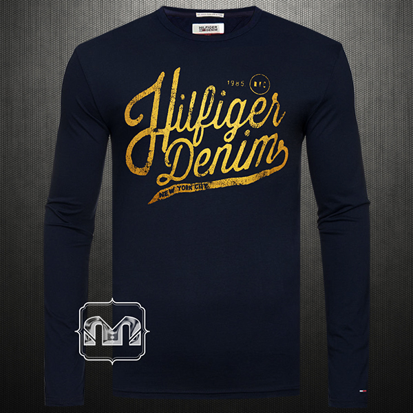 dad3af6d2 ~Tommy Hilfiger Denim Men Printed Navy Blue Crewneck Full Sleeves Tshirt