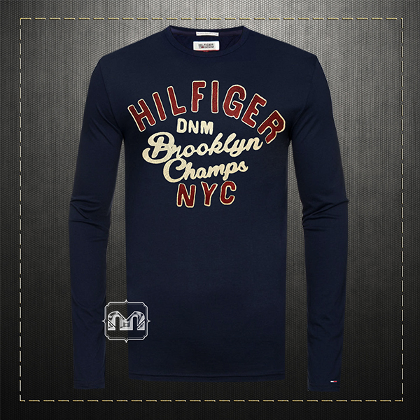 a326a960 Tommy Hilfiger Denim Men Printed Navy Blue Crewneck Full Sleeves Graphic  Tshirt Brooklyn Champs NYC