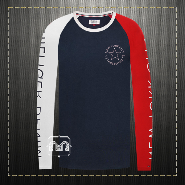 a91c2575 ~Tommy Hilfiger Denim Men Printed Navy Red White Multicolored Crewneck Long  Sleeves Graphic Tshirt NYC