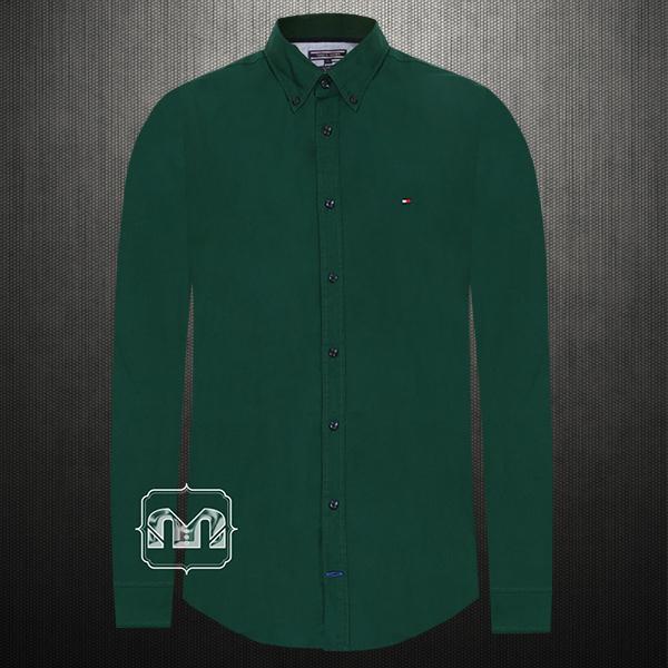 cac1b1f4830 ~Tommy Hilfiger Men Solid Dark Green Casual Stretch Shirt Button Down Collar