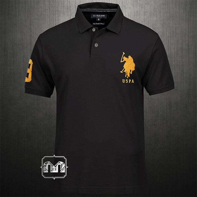 Us Polo Assn Black Polo Tshirt With Embroidered Logo On