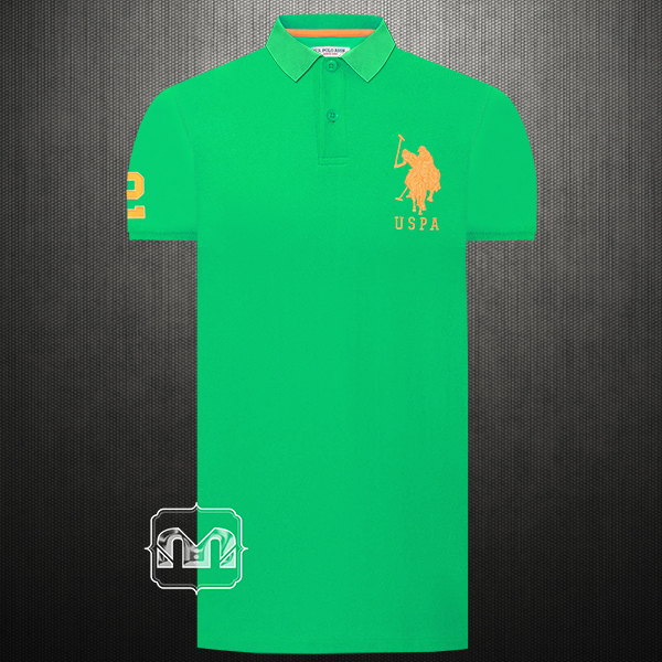Us Polo Assn Men Solid Fluorescent Green Polo T Shirt Big Pony