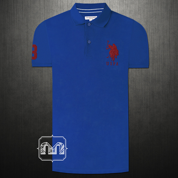 Us Polo Assn Men Solid Blue Polo Tshirt Big Pony Chest Embroidery Number 3