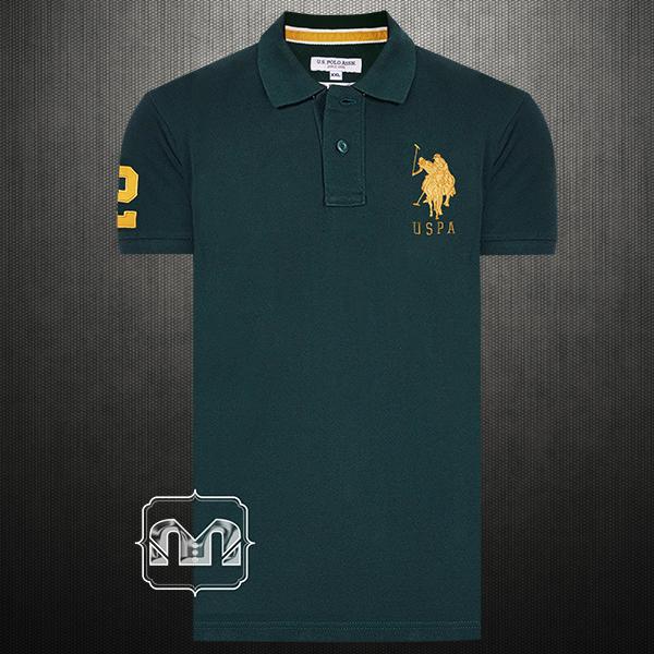 Us Polo Assn Men Solid Dark Green Pique Knit Big Pony