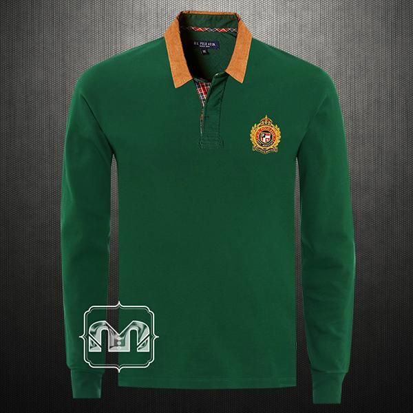 3e4cad07 ~US Polo Assn Dark Green Full Sleeve Polo With Chest Embroidery Corduroy  Collar