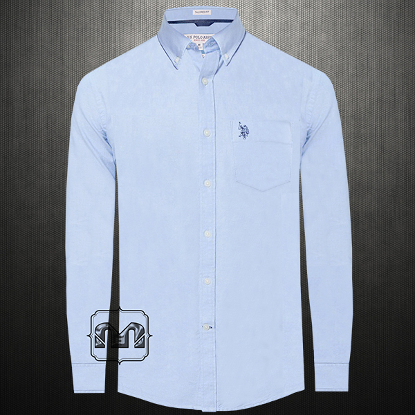 f4d67d05 ~US Polo Assn USPA Men Blue Button Down Classic Shirt With US Polo Chest  Embroidery