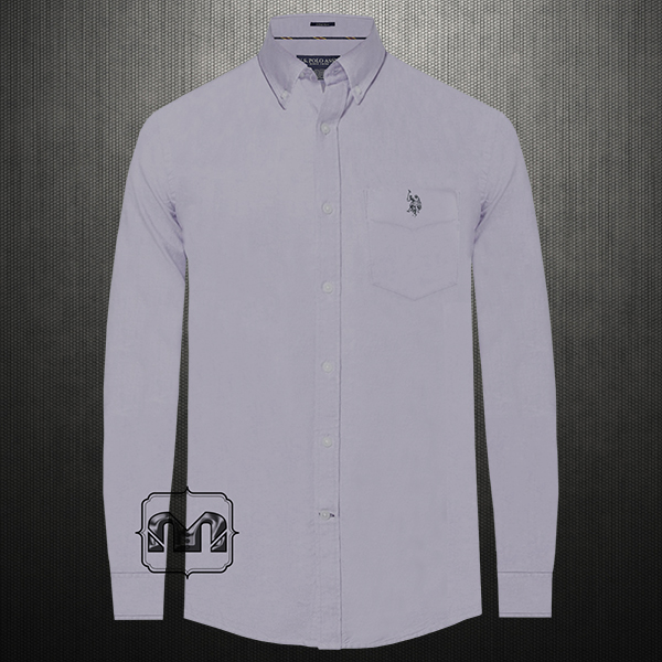 f106edac ~US Polo Assn USPA Men Grey Stretch Button Down Classic Shirt With US Polo  Chest