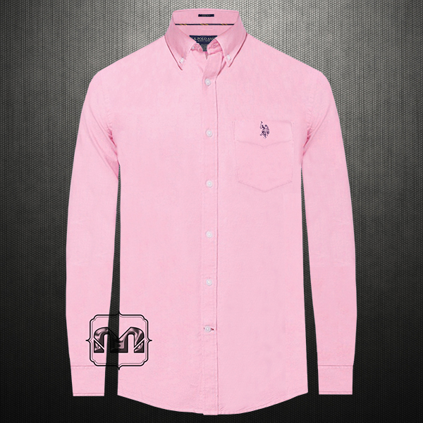 add735f3 US Polo Assn USPA Men Pink Button Down Classic Shirt With US Polo Chest  Embroidery On