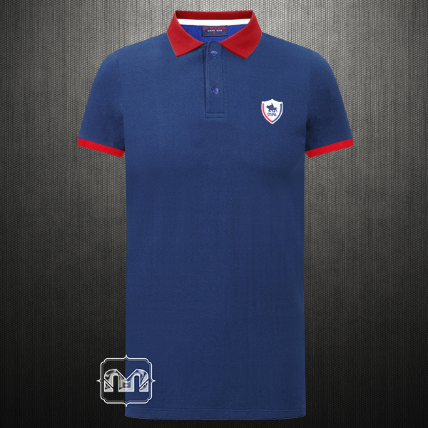 Us Polo Assn Two Toned Navy Red Polo Tshirt With Chest Logo