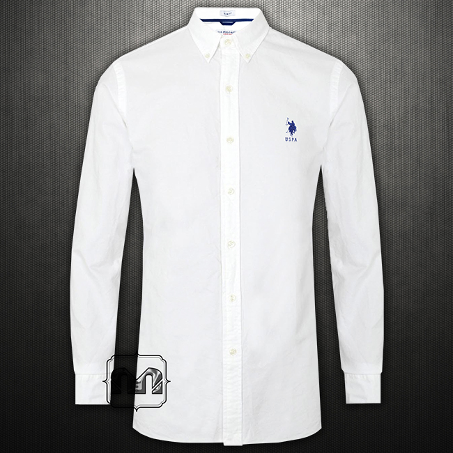 us polo assn slim fit solid white button down shirt small