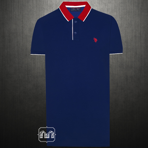 Us Polo Assn Two Toned Navy Red Polo Tshirt Small Pony Logo With Red Collar