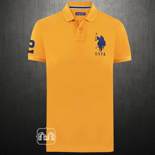 469404a76 ~US Polo Assn Men Light Orange Peach Pique Knit Polo Tshirt Navy Big Pony  Logo